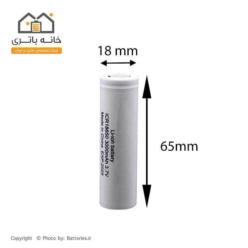 ابعاد باتری 18650