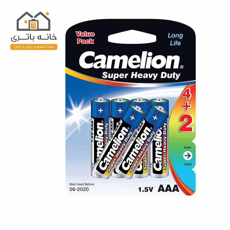 باتری نیم قلمی Super Heavy Duty کملیون (R03P-BP6(4+2