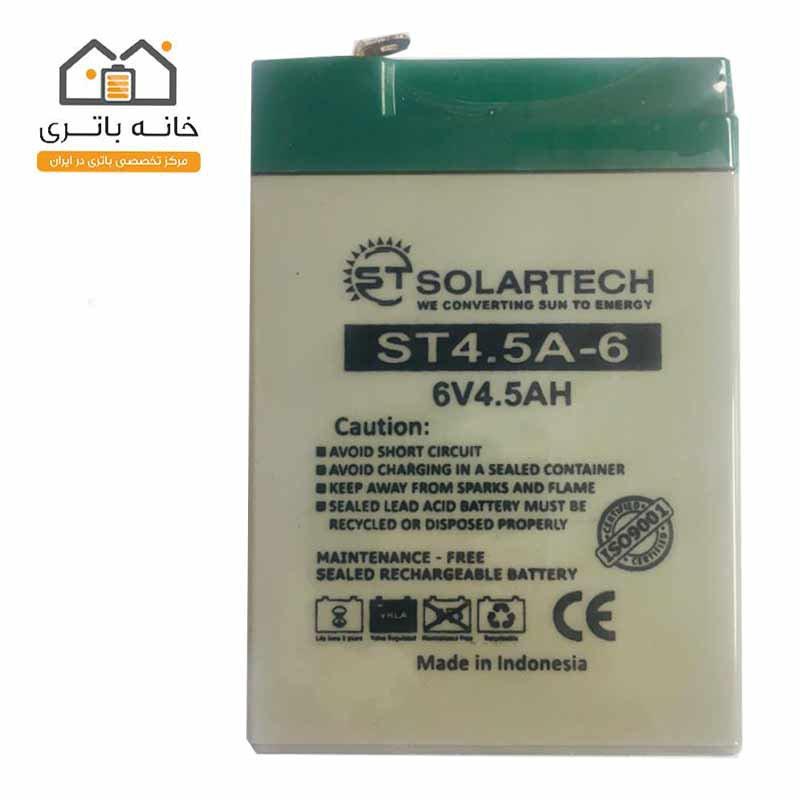 باتری ۶ ولت ۴.۵ آمپر سولارتک (solartech)