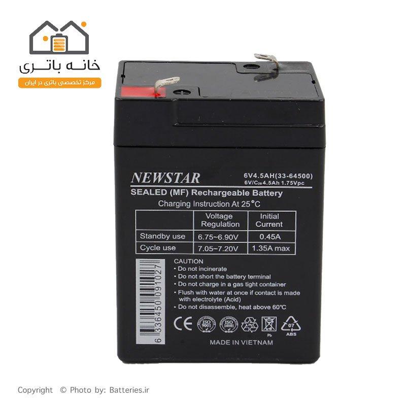 باتری سیلد اسید 6 ولت 4.5 آمپر نیو استار NewStar