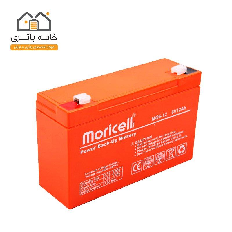 باتری خشک 6 ولت 12 آمپر ساعت موریسل Moricell