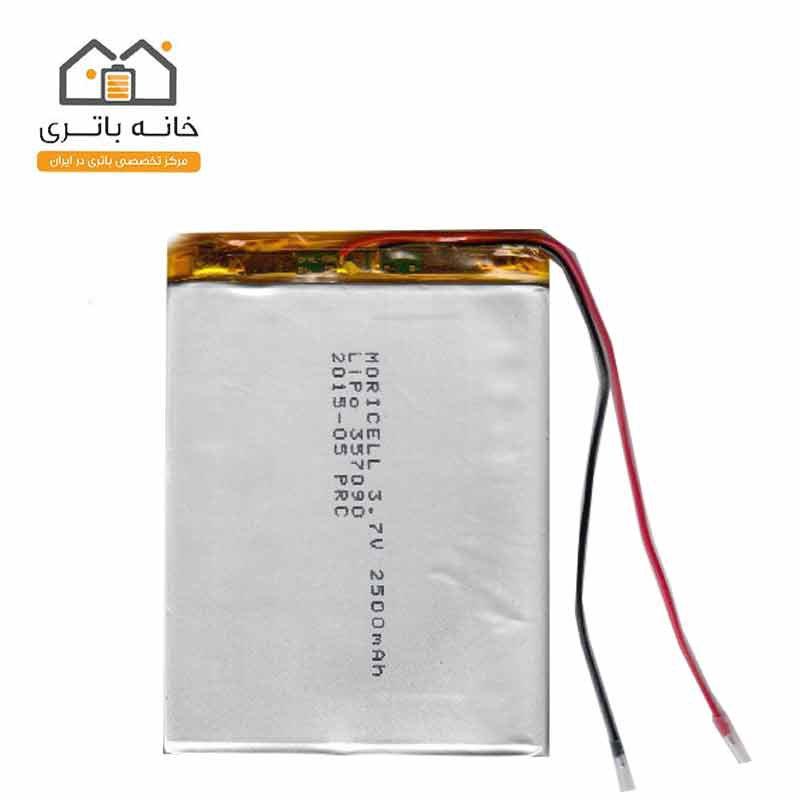 باتری لیتیوم پلیمر3/7ولت 2500میلی آمپر(357090)