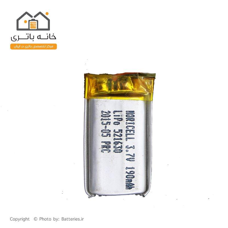 باتری لیتیوم پلیمر3.7 ولت 190 میلی آمپر (521630)