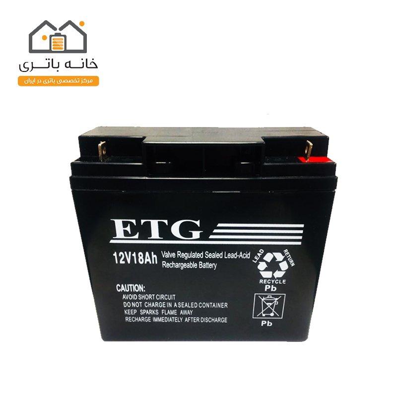 باتری سیلد لید اسید 12 ولت 18 آمپر ساعت ای تی جی - ETG