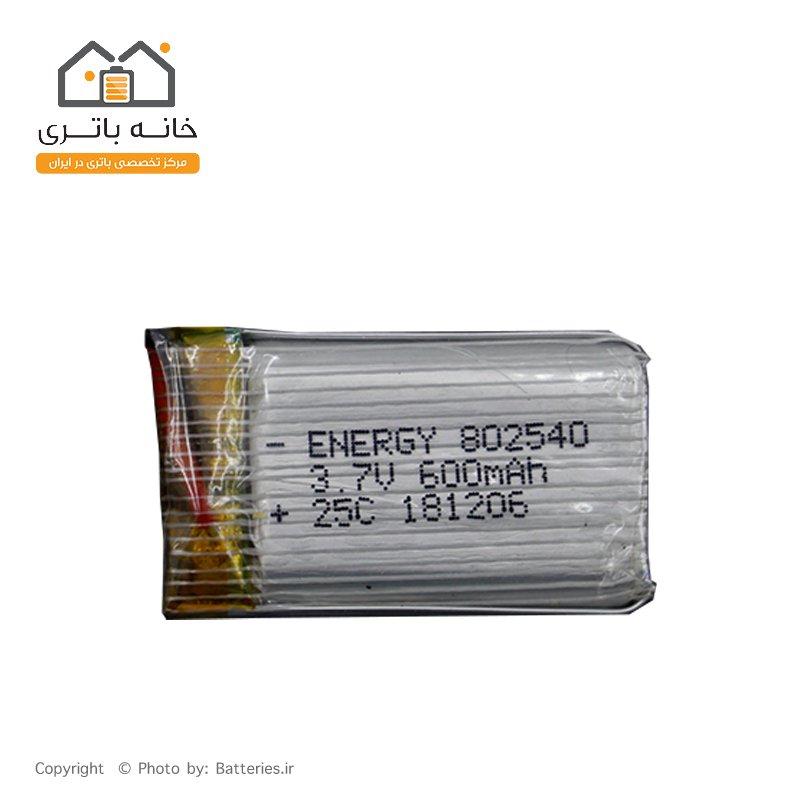 باتری لیتیوم پلیمر 3.7 ولت 600 میلی آمپر ساعت انرژی (802540) 25C