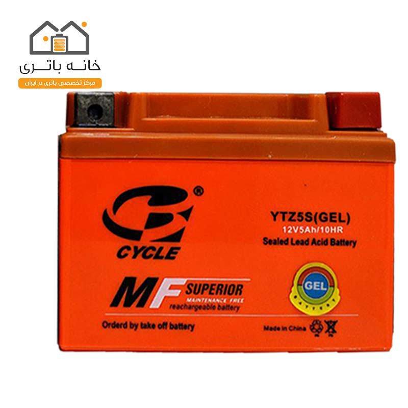 باتری موتور سیکلت 12 ولت 5 آمپر کوتاه برند سایکل مدل (YTZ5S(GEL