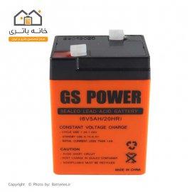 باتری سیلد اسید 6 ولت 5 آمپر جی اس پاور-GS power