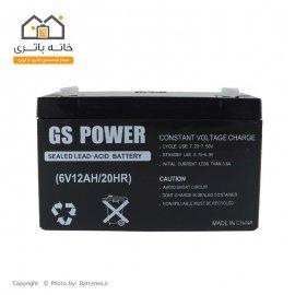 باتری خشک 6 ولت 12 آمپر ساعت جی اس پاور-GS power