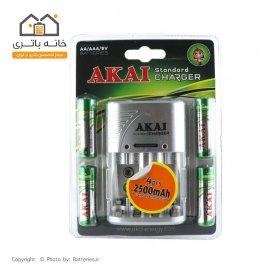 شارژر باتری قلم و نیم قلمی آکای به همراه 4 عدد باتری قلمی شارژی اشانتیون 2500میلی آمپر