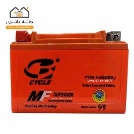 باتری موتور سیکلت 12 ولت 9.5 آمپر کوتاه برند سایکل مدل YTX9.5-BS