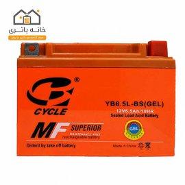 باتری موتور سیکلت 12 ولت 6.5 آمپر کوتاه برند سایکل مدل YB6.5L-BS