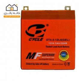 باتری موتور سیکلت 12 ولت 4.5 آمپر بلند برند سایکل مدل OT4.5-12L0