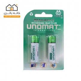 باتری قلمی قابل شارژ یونومات مدل 1800میلی آمپر بسته 2عددی