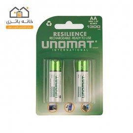 باتری قلمی قابل شارژ یونومات مدل 1300میلی آمپر بسته 2عددی