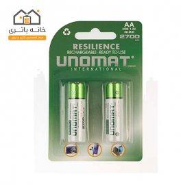 باتری قلمی قابل شارژ یونومات مدل 2700میلی آمپر بسته 2عددی