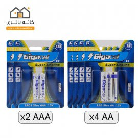 سبد باتری قلمی و نیم قلمی آلکالاین گیگاسل (4 ورق قلمی + 2 ورق نیم قلمی)