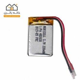 باتری لیتیوم پلیمر3.7 ولت 220 میلی آمپر(402030)