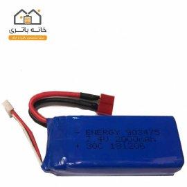 باتری لیتیوم پلیمر 7.4 ولت 2000 میلی آمپر ساعت انرژی (903475) 30C