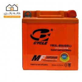 باتری موتور سیکلت 12 ولت 3 آمپر بلند برند سایکل مدل(YB3L-BS(GEL