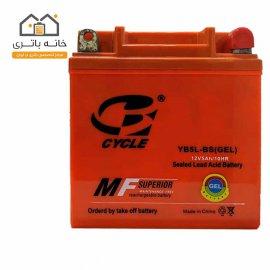 باتری موتور سیکلت 12 ولت 5 آمپر بلند برند سایکل مدل YB5L-BS