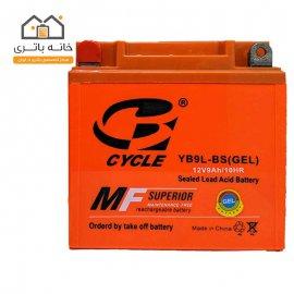 باتری موتور سیکلت 12 ولت 9 آمپر بلند برند سایکل مدل(YB9L-BS(GEL