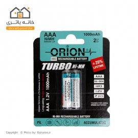 باتری نیم قلمی شارژی نوک دار 1000 میلی آمپر اوریون ( دو عددی) - Orion